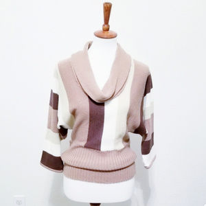Chesley Cowl Neck Striped Sweater 3/4 Sleeve